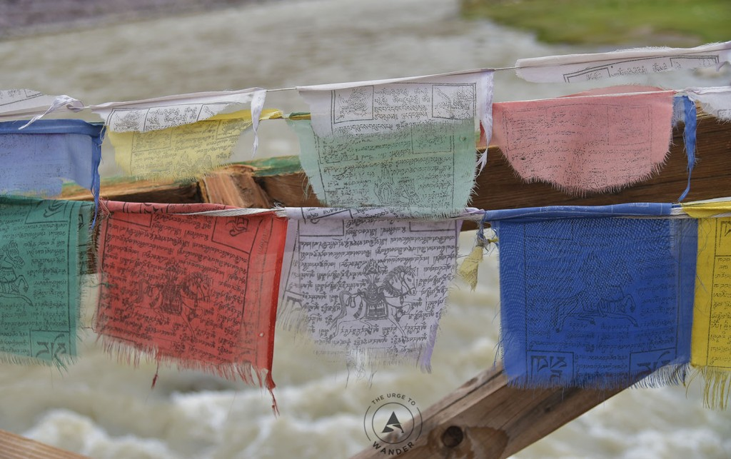 Prayer flags over the Indus river in Ladakh.