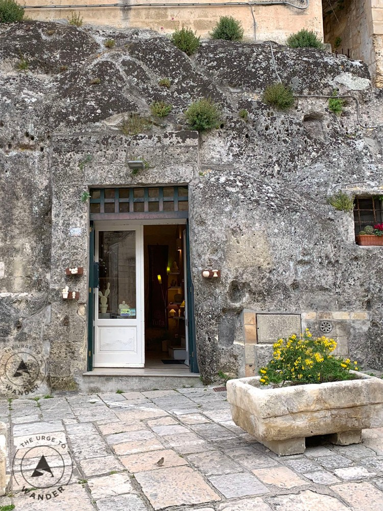 Boutique shop in a cave in Matera.