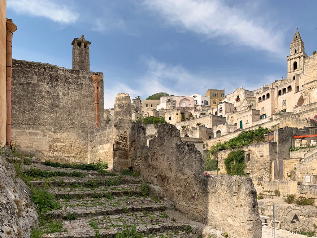 Stone steps and a view of the Sassi in Matera.