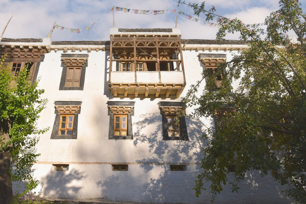 Traditional wooden windows and balcony of Nimmu House
