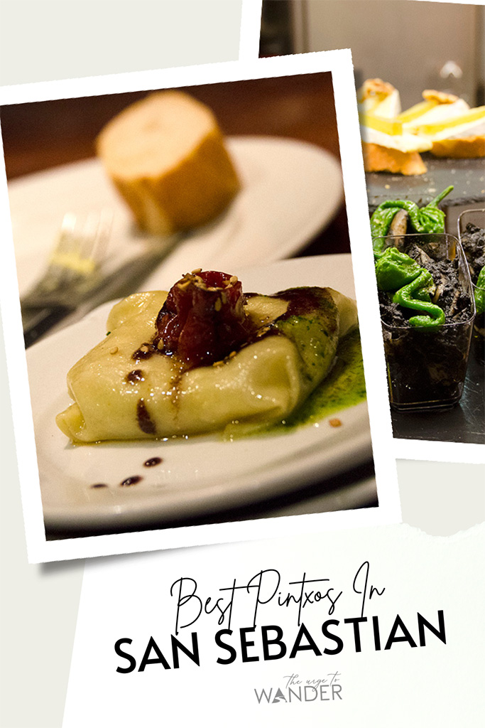 A collage of two images: In the foreground is duck confit, foie gras, and leek ravioli. Partly visible behind is a small plate of pintxo topped with green guindilla peppers.